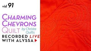 FMQ elongated swirls - Vid 91 Charming Chevrons quilt #RelaxAndCraft Designer series
