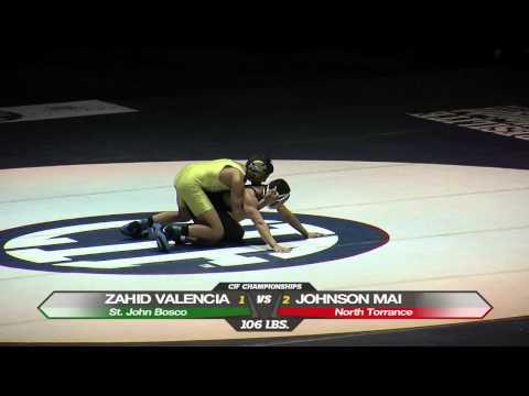 106 Zahid Valencia vs Johnson Mai - CIF State Wrestling Championship 2012