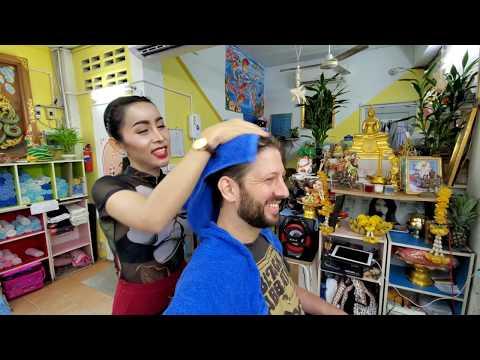 REAL TALK💈Barbershop HAIR WASHING With BEAUTIFUL THAI LADYBOY 🇹🇭 Nin Barber