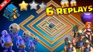 💥6 REPLAYS!💥NEW TH12 WAR BASE 2018 ANTI 2 STAR Anti Everything BoWitch,Miner,Anti Queen Walk,Hog