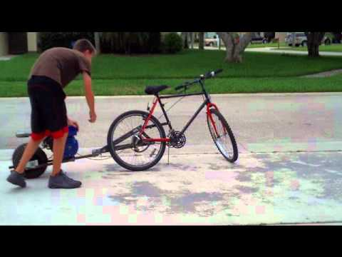 Sick Motorized Bike Pusher Trailer 6 5hp Youtube