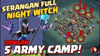 SERANGAN FULL NENEK SIHIR MALAM dengan 5 ARMY CAMP!? - Coc Indonesia