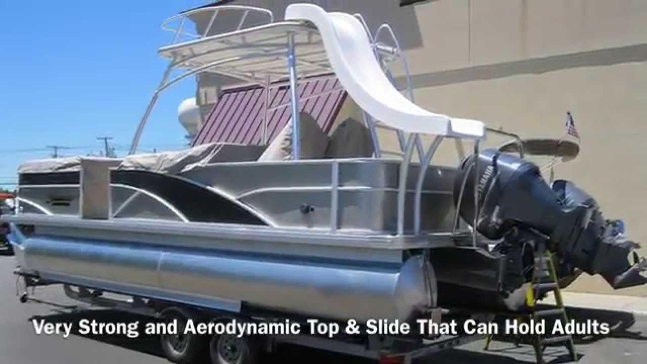 Sweetwater Premium 240 Sd Slide Pontoon Performance Video On Rough Salt Water Youtube