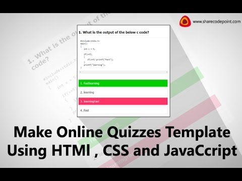 How make an online quizzes template for website using html , css and - online quiz templates