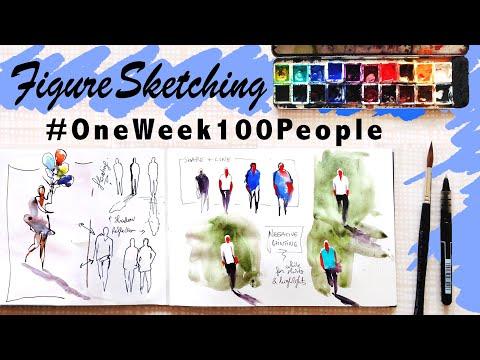 PEOPLE SKETCHING🚶🏻♂️FIGURE DRAWING with Ink and Watercolor. #OneWeek100People2018