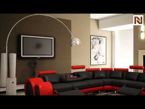 4087-Red And Black Bonded Leather Sectional Sofa With Recliners ...