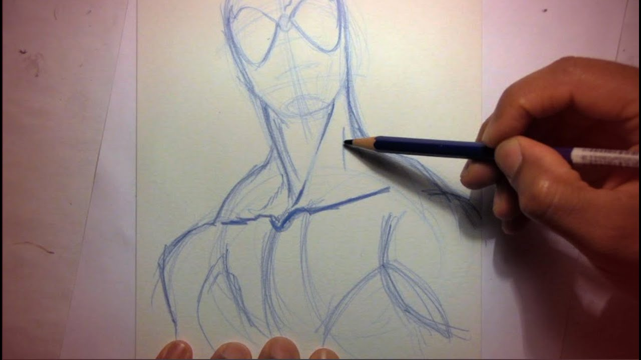 How To Draw Spider Man Starting With Pencils Youtube