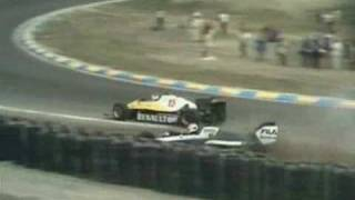 Prost trying desperately to get by Piquet at Zandvoort 1983