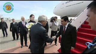 kazakhstan Foreign Minister Erlan Idrissov meets Turkmenistan President Gurbanguly Berdimuhamedov at Astana Airport