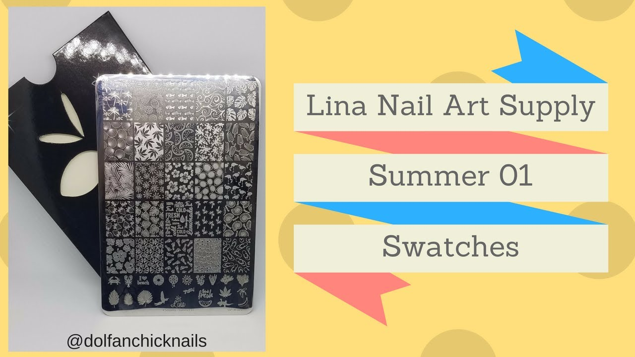 Lina Nail Art Supply Summer 01 Swatches (Entire Plate) - YouTube