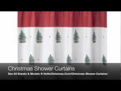Vinyl and Fabric Christmas Shower Curtains With Sets of Hooks and Bathroom Towels