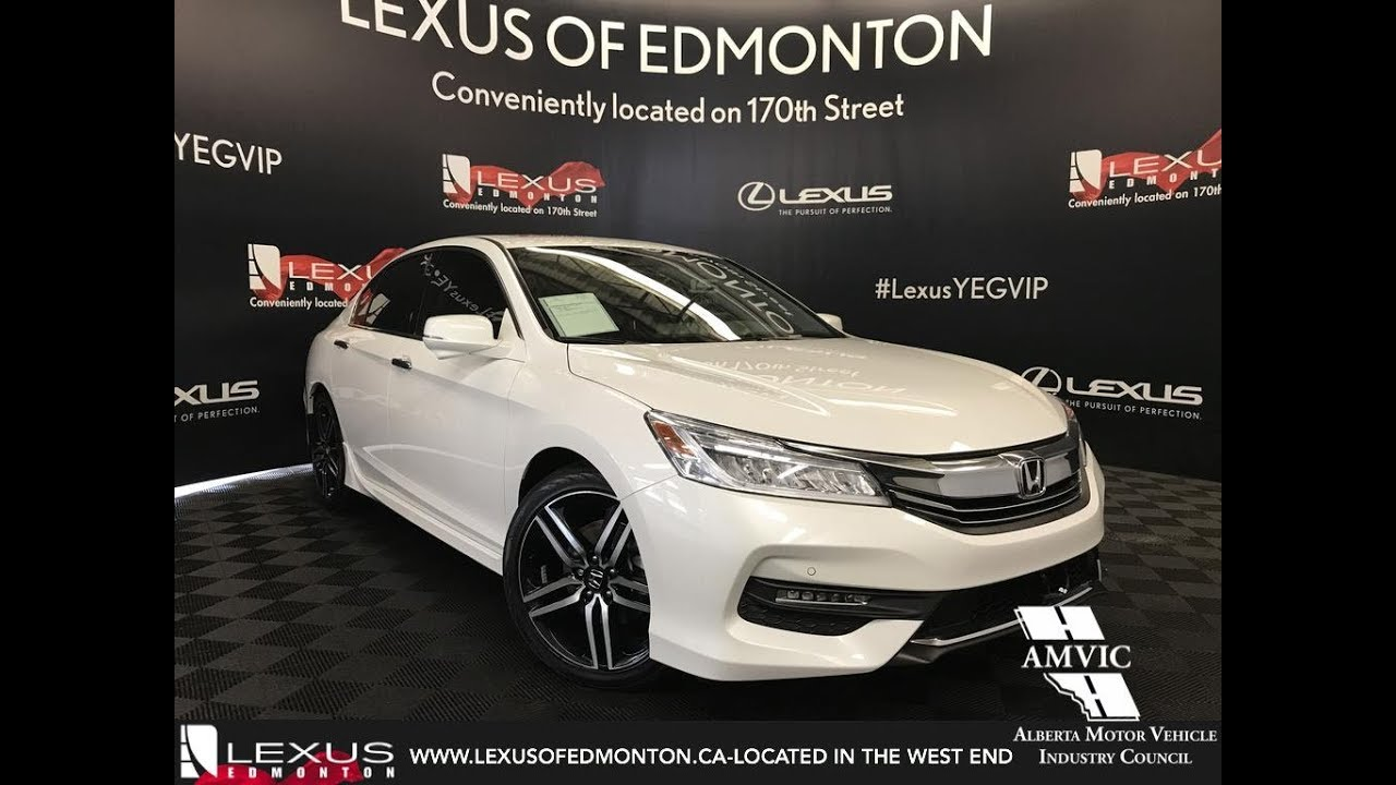 Used White 2017 Honda Accord Sedan Touring Walkaround Review Fort Mcmurray Alberta