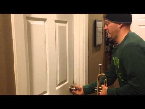 Dad wakes up daughter with trumpet!