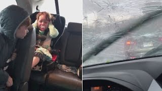 This Family Was Trapped in Their Car During a Terrifying Hail Storm