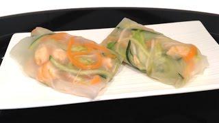 Rollito de langostinos y verduras en oblea de arroz
