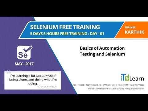 Selenium Free Training   Day 1  5 Days 5 Hours Free Training  (Basics of Automation Testing and Sel)