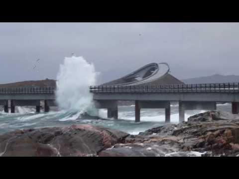 Giant waves hits the Atlantic Ocean Road