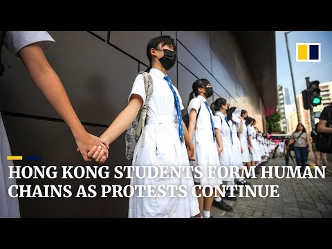 Hong Kong students form human chains as protests continue
