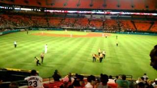 naked man runs across field during marlins vs cubs baseball game