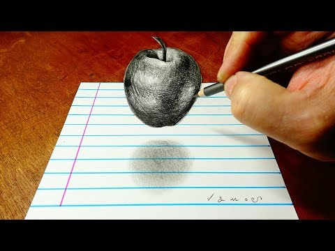 3D Drawing an Apple for You - Trick Art on Lined Paper - By Vamos