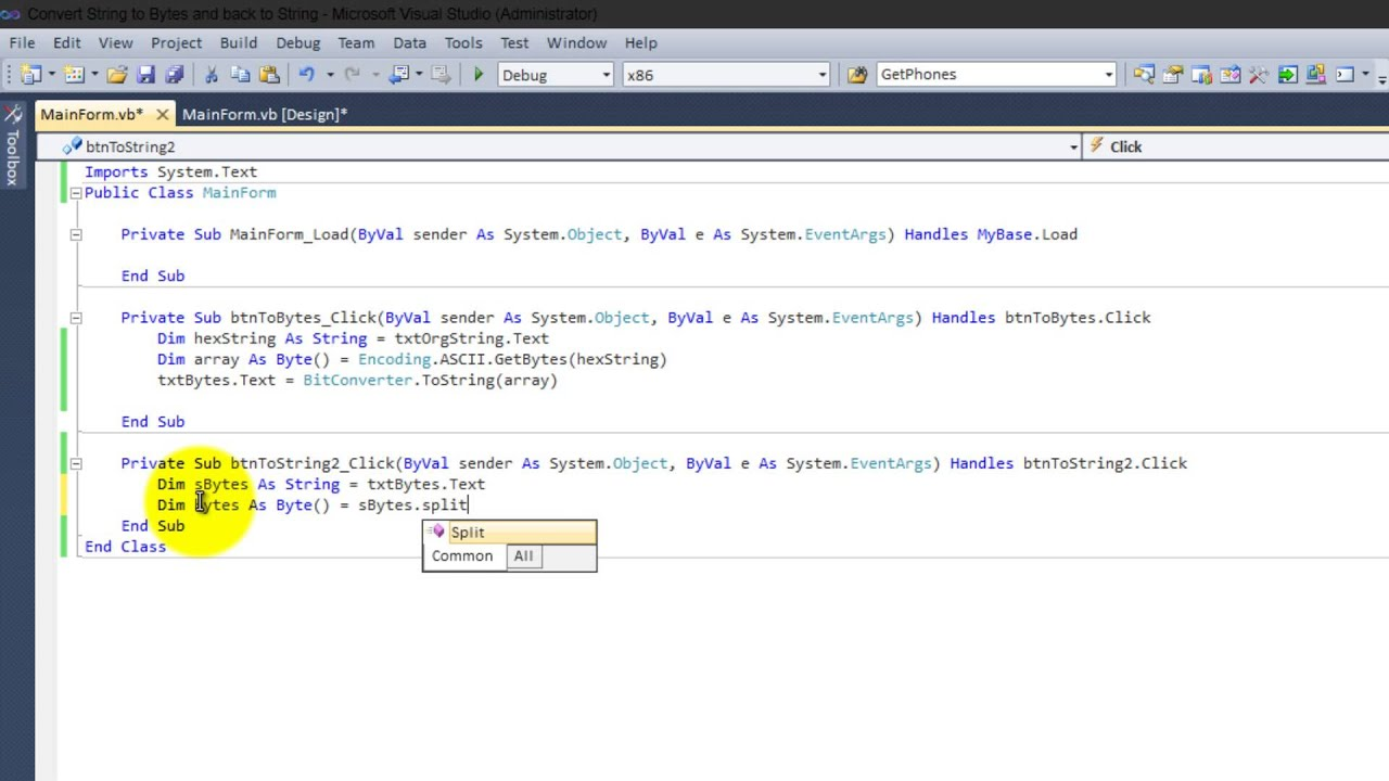How to convert String to Bytes and back to String in Visual Basic 2010