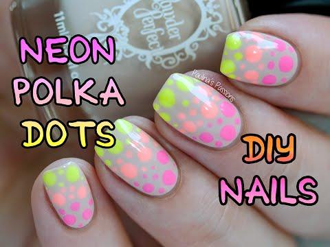 Neon Polka Dots Nail Art | Paulina's Passions