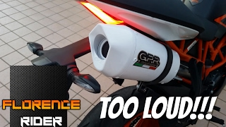 ktm duke rc 125   stock exhaust vs gpr exhaust   with full comparison