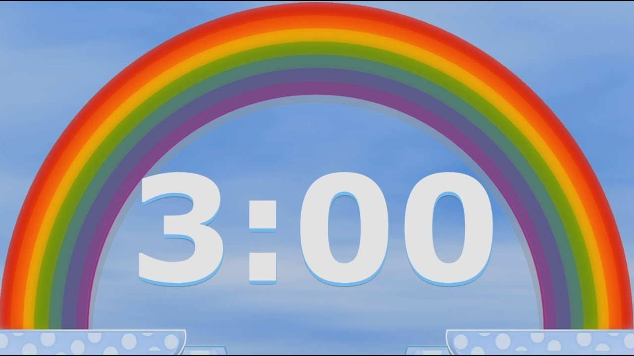 3 minute rainbow timer clock 180 seconds countdown alarm