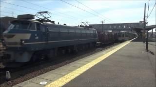 2018/3/3 昼前の清洲駅を通過する貨物列車 強風による遅れ有り