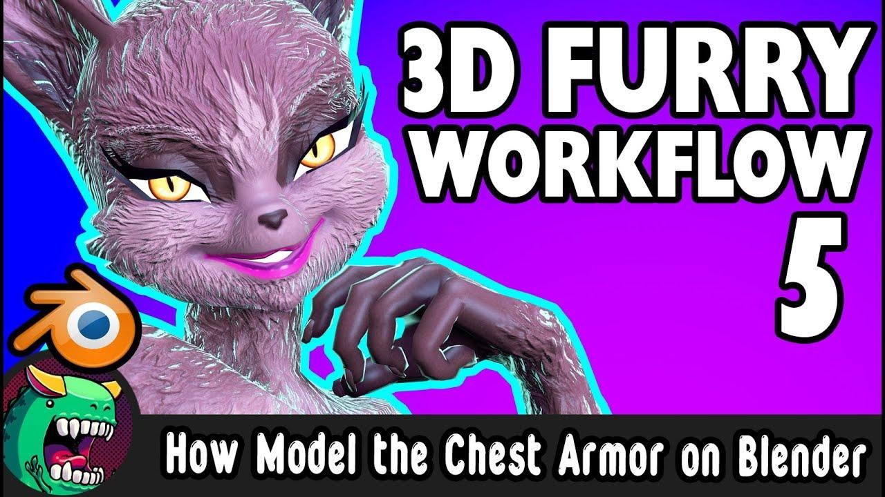 How made 3D chest Armor a Lowpoly Female Furry! Blender Livestream #5