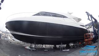 Vinyl Boat Wrap of Riviera 50 in New 3M 2080 Matte Black Film at Pittwater