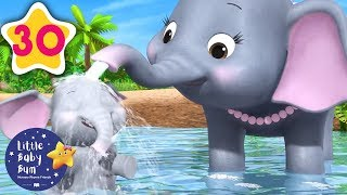 5 Elephants Having A Wash | +30 Minutes of Nursery Rhymes | Learn With LBB | #howto
