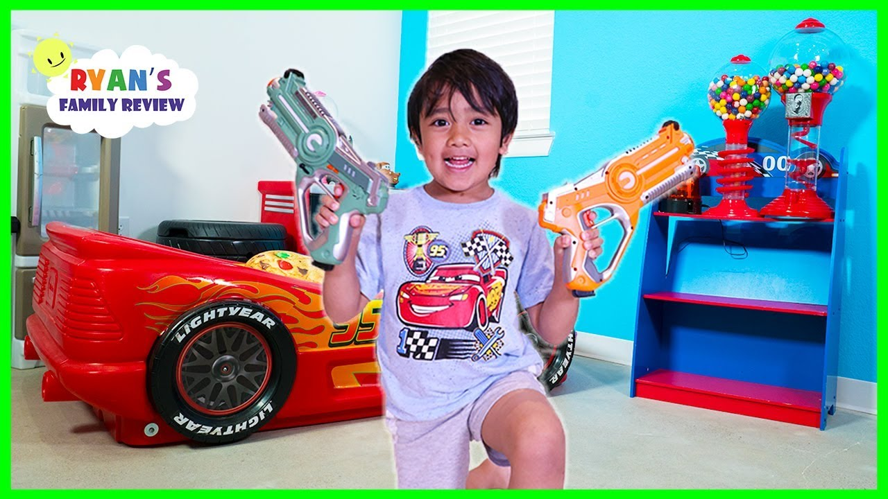 Ryan plays Nerf Toys with Daddy at the new office The Studio Space!