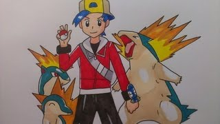 Drawing Pokemon Trainer Gold with Cyndaquil