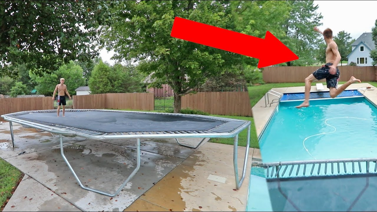 World S Biggest Trampoline Into Backyard Pool Youtube