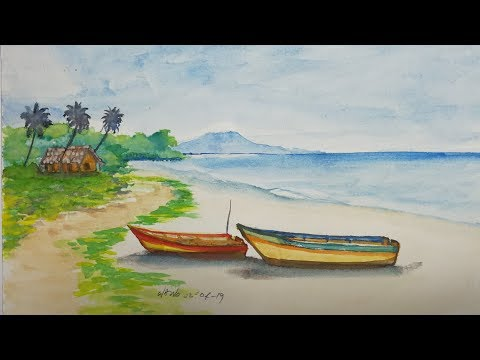 Art # 12 – Simple Landscape Watercolor Painting ll Fisherman Boat at The Beach