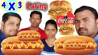 4 X 3 EATING CHALLENGE 4 BURGERS 4 SPICY HOT DOGS AND 4 COKE | INDIAN FOOD CHALLENGES |