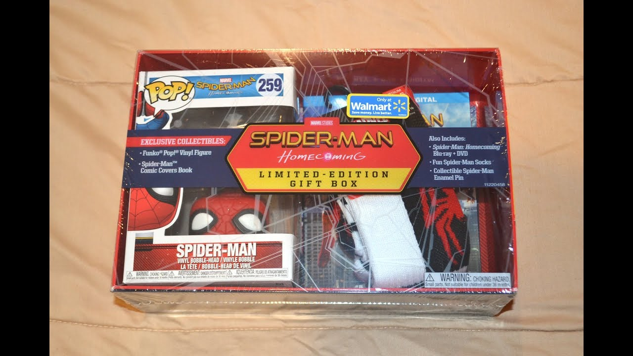 Walmart Exclusive Spider Man Homecoming Limited Edition Gift Box Set Funko Pop Figure Blu Ray