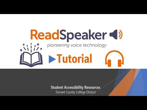 ReadSpeaker Tutorial - Tarrant County College District