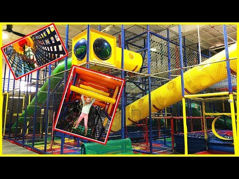 Playing at The Indoor Park Playground Play Place for Kids w Play Doh Girl and Ba Bro Blippi Doll