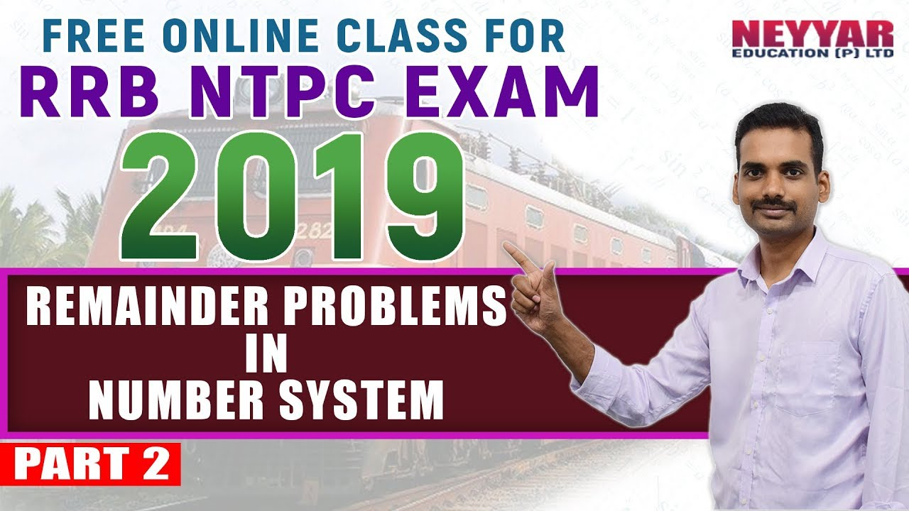 Free RRB- NTPC Exam Online Coaching | Maths Remainder Problems in Number  System | PART 2