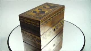 Antique 19th Century Tunbridge Ware Inkwell Box Inlaid Perspective Cube Mosaic 1