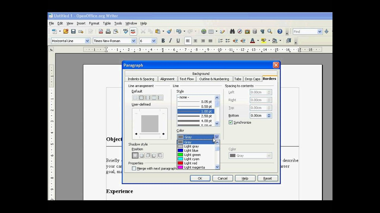 Open Office How To Add, Insert Horizontal Line - YouTube