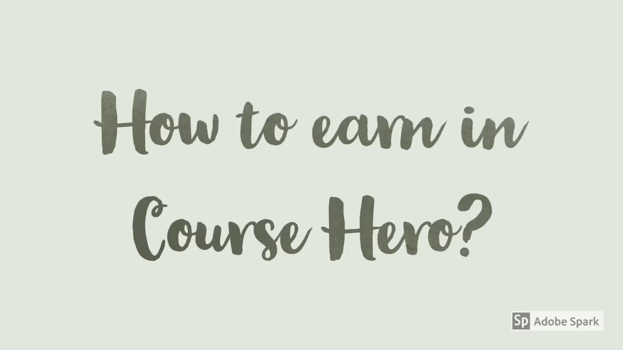 Earn Online in Course Hero
