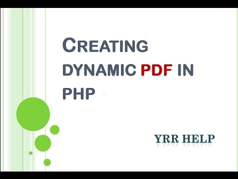 Creating Dynamic PDF In PHP From HTML