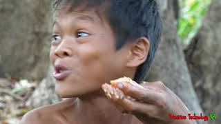 Primitive Technology - Eating delicious - Cooking big fish recipe