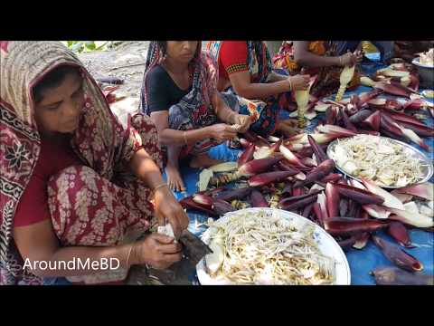 Fish & Banana Flowers / Blossoms Mashed Cooking By Village Women | Village Food Prepare For Children