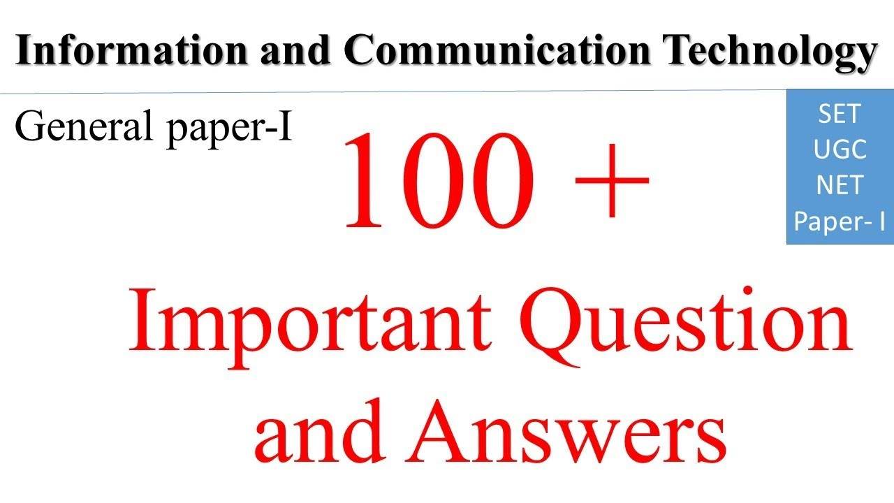 MCQ Information and communication Technology Solved Old Qurstion paper for  SET/NTA NET