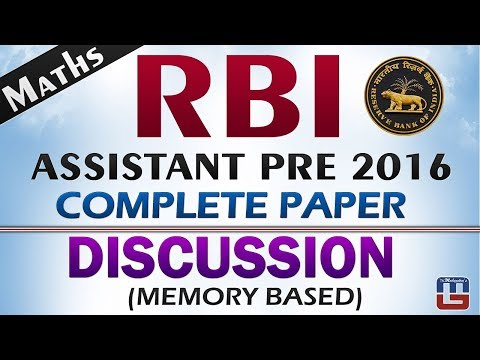 RBI Assistant Pre 2016 | Maths | Complete Paper Discussion | Memory Based