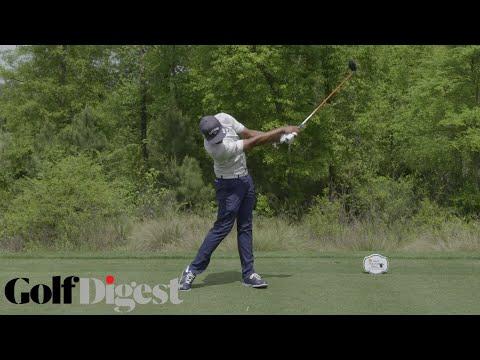 Tony Finau's big time powerful backswing extension   Tony